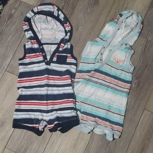 2 Hooded Infant Boys Rompers